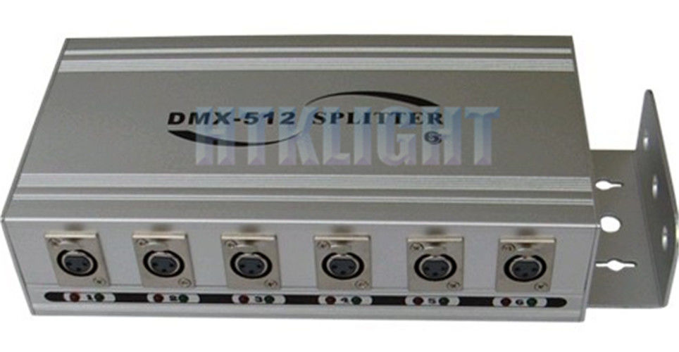 6 Way DMX Signal Splitter / Booster 8W Power Consumption For Stage / Stage